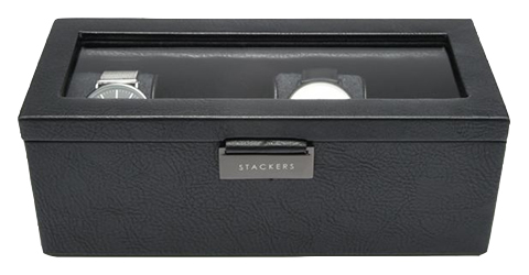 Black vegan leather 4 piece watch storage box from Stackers