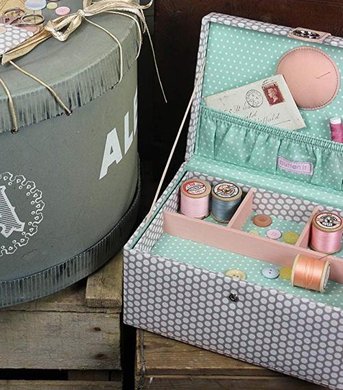 Large pink polka dot sewing storage box