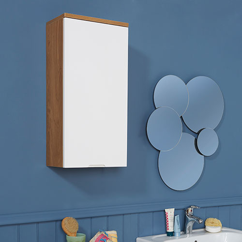 Oak Effect and White Gloss Wall Cabinet