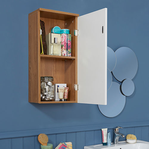 Oak Effect and White Gloss Bathroom Storage Cabinet - Wall Mounted
