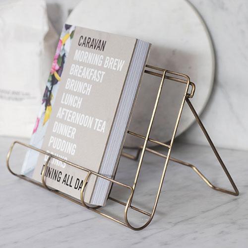 Antique brass finished powder coated steel cook book holder