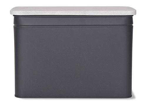 Powder coated steel and marble effect bread bin - Brompton