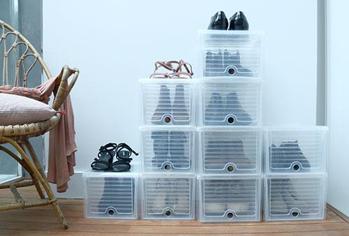 Drop Front Stacking Shoe Storage Box