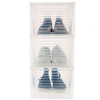 3 x Drop Front Stacking Shoe Storage Box