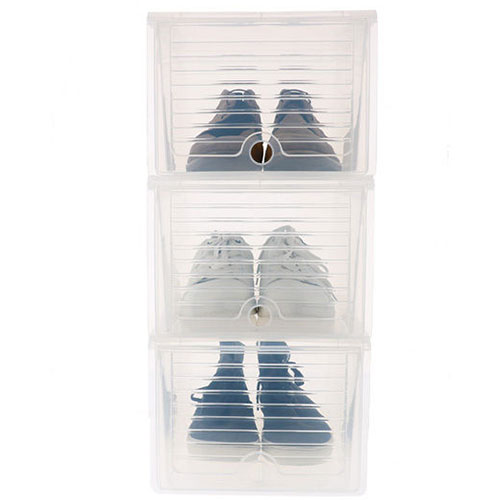3 x Drop Front Stacking Shoe Storage Boxes