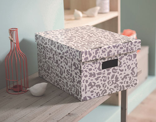 Set of 2 Animal Print Cardboard Storage Boxes