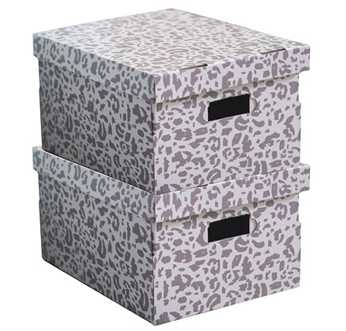 Set of 2 Leopard Print Cardboard Storage Boxes