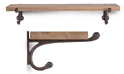 Raw oak wall mounted shelf with cast iron brackets
