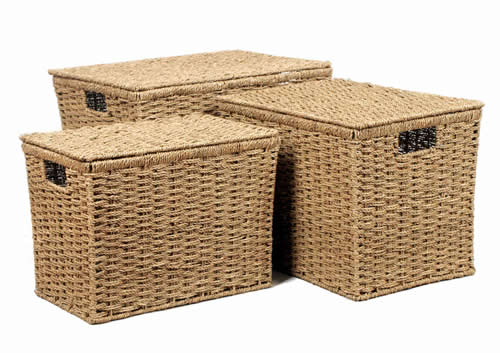 Set of 3 Seagrass Toy Boxes with Lid
