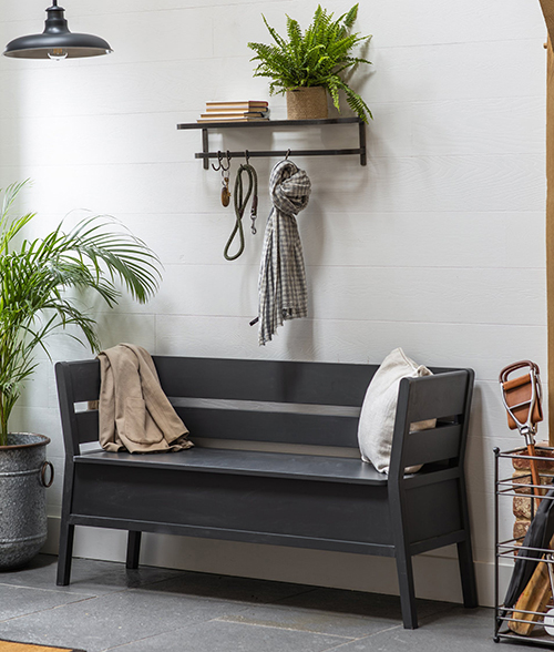 Hallway bench with lift up storage lid