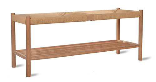 Solid oak and papercord hallway bench with storage shelf