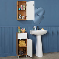 Oak Effect & White Gloss Bathroom Storage Set