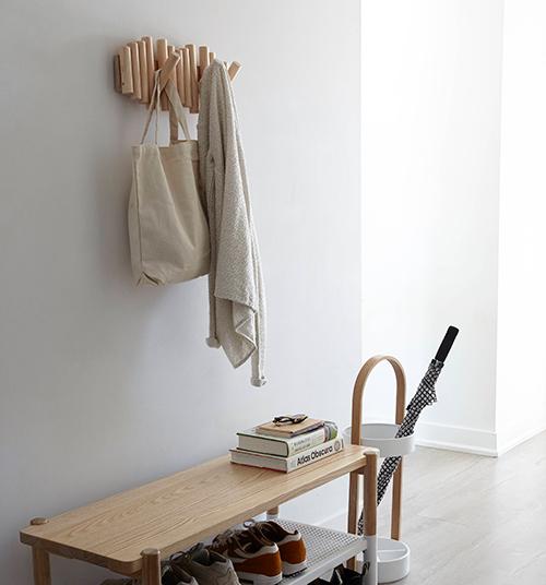 Pine wood wall mounted coat rack - Picket