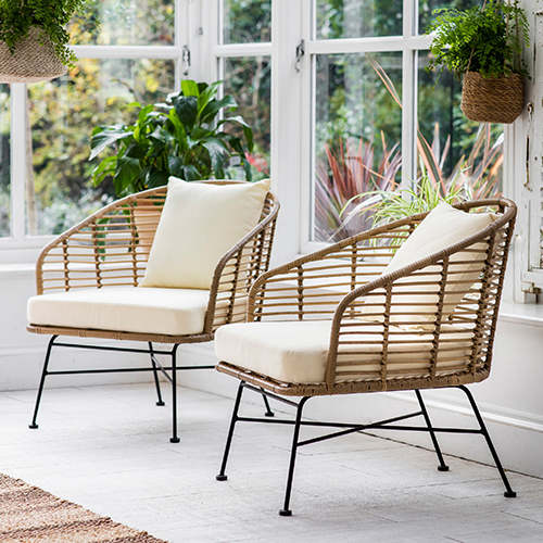 Set of 2 all weather bamboo armchairs - Hampstead