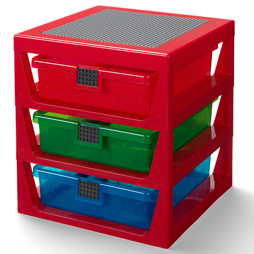 LEGO 3 Drawer Storage Rack with Base Plate Top