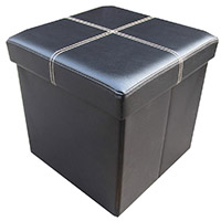 Faux Leather Storage Ottoman Stool
