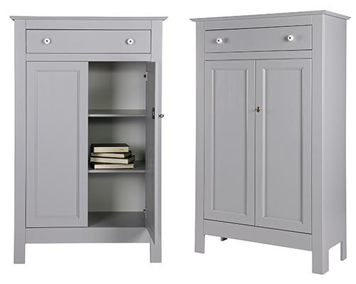 Pine wood storage cabinet with drawer - Eva