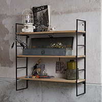 Wall Unit with Wooden Shelves - Meert