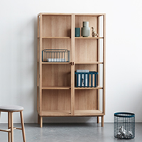 Oak Display Cabinet on Legs - Tall