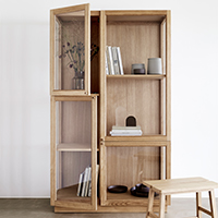 Oak Display Cabinet with 6 Shelves