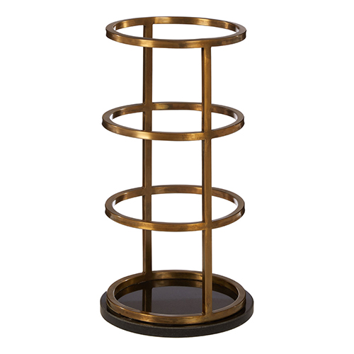 Umbrella storage stand crafted from stainless steel with an antique brass finish
