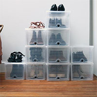 24 x Drop Front Stacking Shoe Storage Boxes