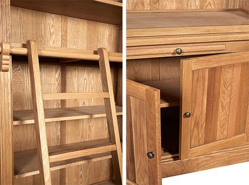 Oak Bookcase with Ladder - Lyon