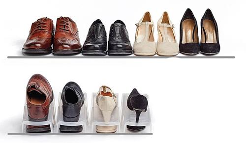 In wardrobe space saving shoe storage step