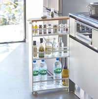 Slimline Kitchen Trolley - Wood Topped