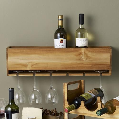 Teak Wood Wine Organiser