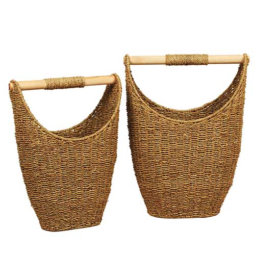 Set of Two Seagrass Loo Roll Stores