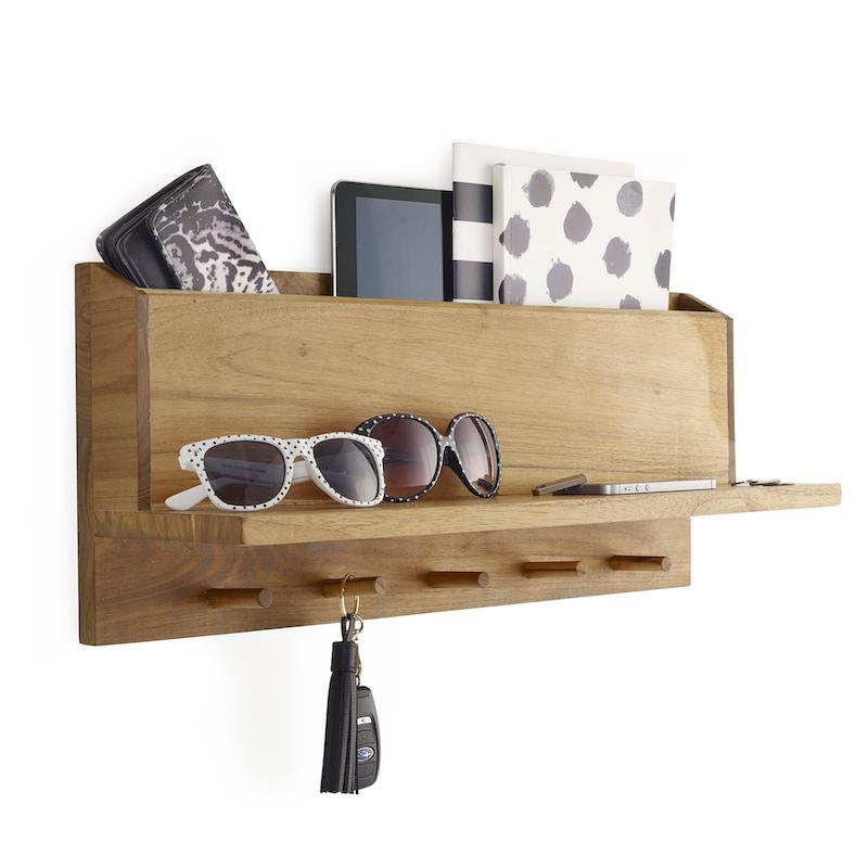 Takara Hallway Organiser in Teak Wood with 5 coat hooks and accessories shelf