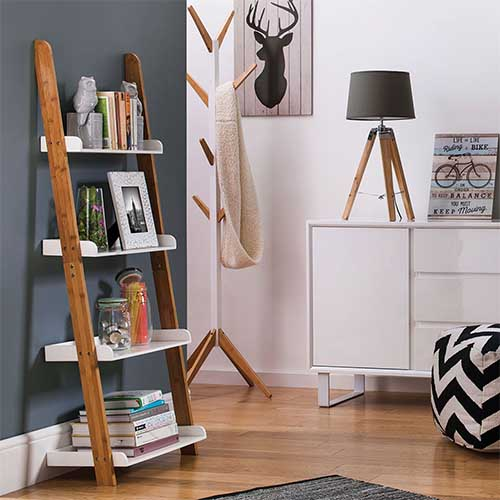 Nostra Bamboo & Gloss White Shelf Ladder