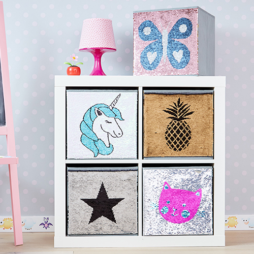 Reversible Sequin Storage Boxes Available in Star, Butterfly and Unicorn Design.
