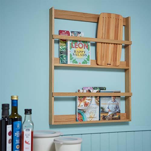 Magazine / Cookbook Display Shelf - Oak
