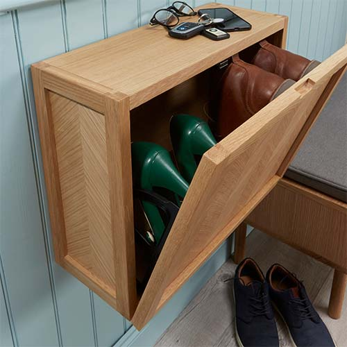 Herringbone Floating Shoe Cabinet - Oak