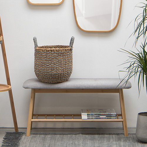 Bamboo Wooden Bench - Grey Cushion