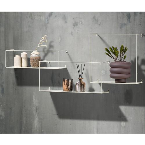 3 x White Metal Display Shelves
