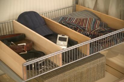 elfa decor solid wood basket shelf divider