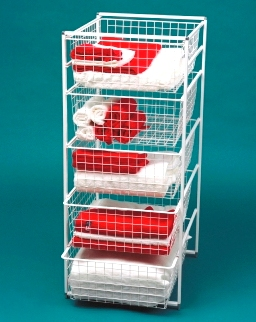 free standing elfa basket tower with 5 medium baskets