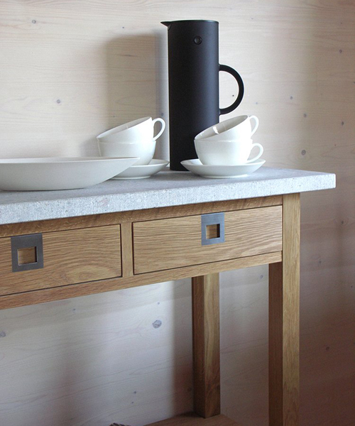 this simple yet stunningly designed hallway table is constructed from a choice of either solid oak or birch and is topped with creamy gotland limestone or