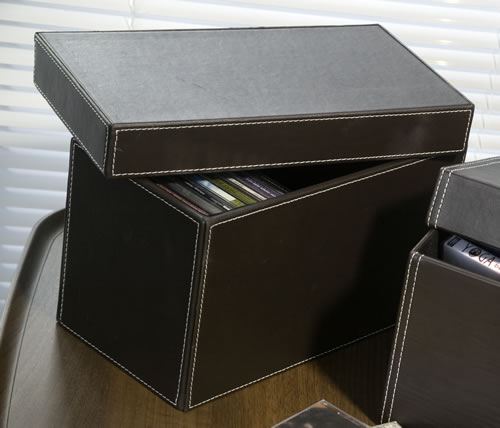 Faux Leather CD Storage Box.