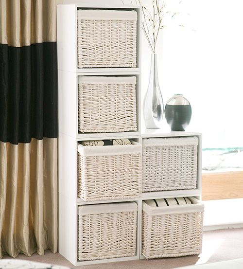 White Modular Stacking Storage Cubes