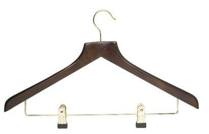 Dark Wood Hanger with Clips
