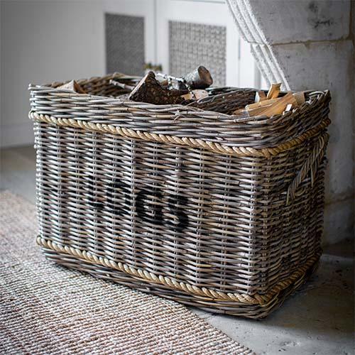 Rattan Rectangular Log Basket with Rope