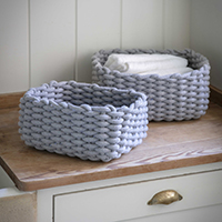 Set of 2 Chunky Knit Baskets - Chesil