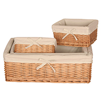 Set of 4 Lined Willow Storage Baskets