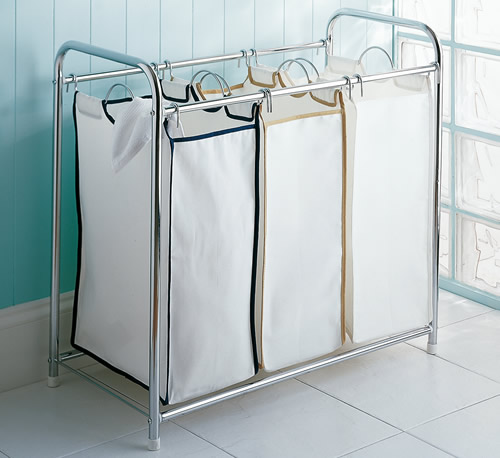 triple bag laundry hamper sorter