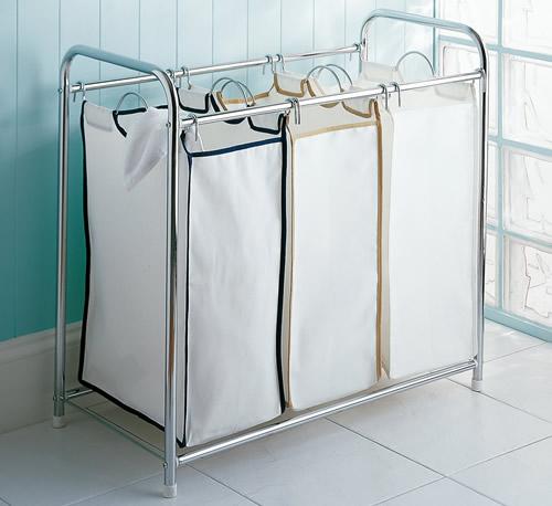 triple bag laundry hamper sorter