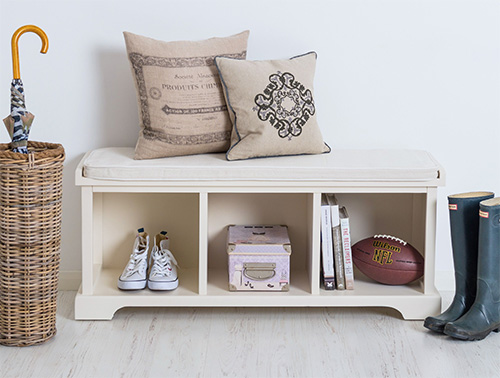 3 Cubby Storage Bench With Cushion